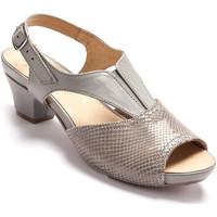Chaussures Femme Sandales et Nu-pieds Pediconfort Sandales cuir lisse et façon croco gris