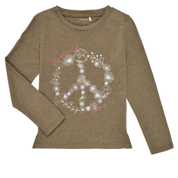 Vêtements Fille T-shirts manches longues Name it NKFKALINDA LS TOP Taupe