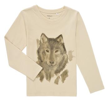 Vêtements Garçon T-shirts manches longues Name it NMMKEVIN LS TOP Beige