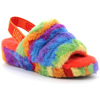 Chaussures Femme Chaussons UGG fluff yeah logo slide Rouge