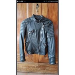 Vêtements Femme Blousons Zara Blouson motard cuir noir xs Noir