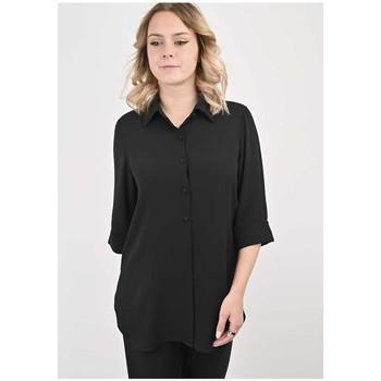 Vêtements Femme Chemises / Chemisiers Georgedé Tunique Maribel en Crêpe Noire Noir