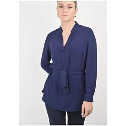 Vêtements Femme Tuniques Georgedé Tunique Jade en Crêpe Bleu Marine Bleu