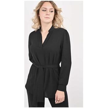 Vêtements Femme Tuniques Georgedé Tunique Jade en Crêpe Noire Noir