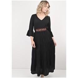 Vêtements Femme Robes longues Georgedé Robe Gloria Longue en Crêpe Noire Noir
