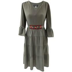 Vêtements Femme Robes courtes Georgedé Robe Malvina Bohème en Crêpe Kaki Courte Kaki