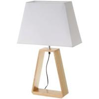 Maison & Déco Lampes à poser Esprit Nordique Grande Lampe en chêne clair et abat-jour blanc Beige