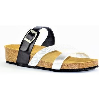Chaussures Femme Mules La Maison De L'espadrille MULEESPA NOIR BLANC ARGENT