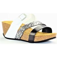 Chaussures Femme Mules La Maison De L'espadrille MULEESPA BLANC NOIR ARGENT
