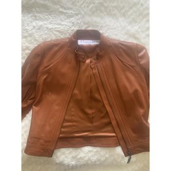 Vêtements Femme Blousons Christian Dior Veste en cuir Marron