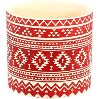 Maison & Déco Vases, caches pots d'intérieur Décolines Mini Cache pot Rouge Cylindre Mexicain en céramique 7 cm Rouge