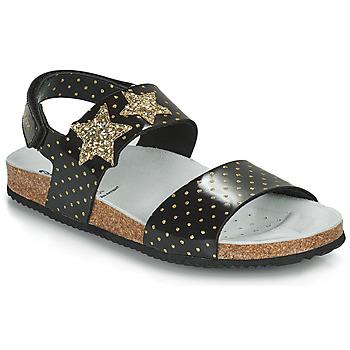 Chaussures Fille Sandales et Nu-pieds Geox J ADRIEL GIRL Noir / Doré