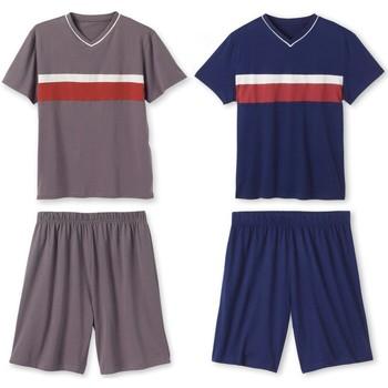 Vêtements Homme Pyjamas / Chemises de nuit Honcelac Lot de 1 pyjashorts à rayures en jersey assortis