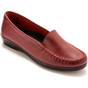 Chaussures Femme Mocassins Pediconfort Mocassins plateau lisse largeur confort rouge