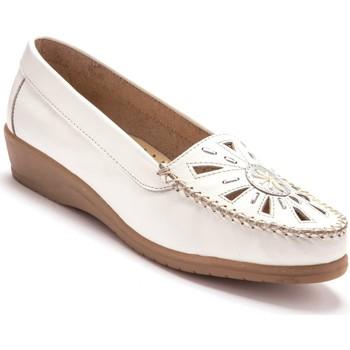 Chaussures Femme Mocassins Pediconfort Mocassins ajourés largeur confort blanc