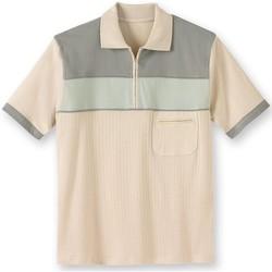 Vêtements Homme Polos manches courtes Honcelac Polo à col zippé manches courtes kakivertcru