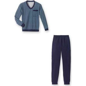 Vêtements Homme Pyjamas / Chemises de nuit Honcelac Pyjama forme jogging en jersey imprimbleu
