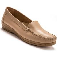 Chaussures Femme Mocassins Pediconfort Mocassins à plateau lisse grande largeur beige
