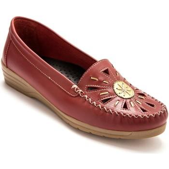 Chaussures Femme Mocassins Pediconfort Mocassins ajourés largeur confort rouge