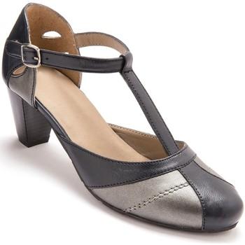 Chaussures Femme Escarpins Pediconfort Salomés bicolores en cuir aérosemelle marineargent