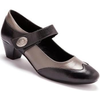 Chaussures Femme Ballerines / babies Pediconfort Babies scratchées cuir à aérosemelle noirgris