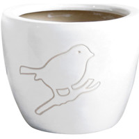 Maison & Déco Vases, caches pots d'intérieur Décolines Cache-pot Bird blanc en Terre Cuite 18 cm Blanc
