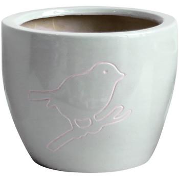 Maison & Déco Vases, caches pots d'intérieur Décolines Cache pot Bird Gris en Terre Cuite 18 cm Gris