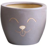 Maison & Déco Vases, caches pots d'intérieur Décolines Cache pot Petsy Taupe en Terre Cuite 13 cm Gris