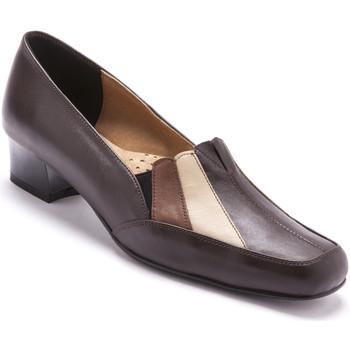 Chaussures Femme Mocassins Pediconfort Trotteurs cuir tricolore marron