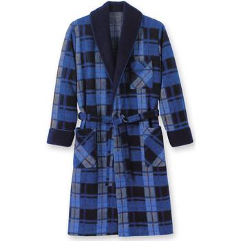 Vêtements Homme Pyjamas / Chemises de nuit Honcelac Robe de chambre maille courtelle ecossaisbleu