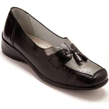 Chaussures Femme Mocassins Pediconfort Sans-gêne bi-matière avec pompons noirgris