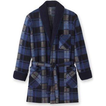 Vêtements Homme Pyjamas / Chemises de nuit Honcelac Veste d'intérieur maille courtelle ecossaisbleu