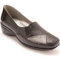 Chaussures Femme Mocassins Pediconfort Sans-gêne ultra souples grande largeur noirgris