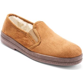 Chaussures Homme Chaussons Honcelac Sans-gêne mixtes en mouton véritable gra chamois