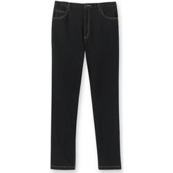 Vêtements Homme Jeans droit Honcelac Jean droit extensible à taille élastiqué noir