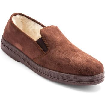 Chaussures Homme Chaussons Honcelac Sans-gêne mixtes en mouton véritable gra marron