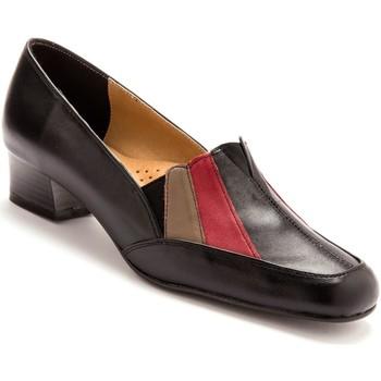 Chaussures Femme Mocassins Pediconfort Trotteurs cuir tricolore noir