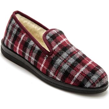 Chaussures Homme Chaussons Honcelac Charentaises mixtes fourrées ecossaisbordeaux