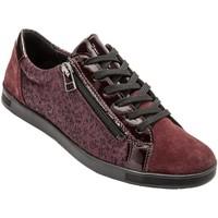 Chaussures Femme Baskets basses Pediconfort Baskets cuir avec zip et lacets bordeauximprim