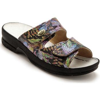 Chaussures Femme Mules Pediconfort Mules à scratch extra larges imprimfondnoir