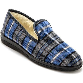 Chaussures Homme Chaussons Honcelac Charentaises mixtes fourrées ecossaisbleu