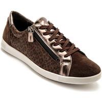 Chaussures Femme Baskets basses Pediconfort Baskets zippées cuir semelle amovible marronimprim