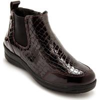 Chaussures Femme Boots Pediconfort Boots extra larges semelle amovible bordeaux