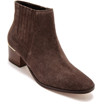 Chaussures Femme Boots Pediconfort Boots zippées cuir velours marron