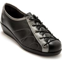 Chaussures Femme Derbies Pediconfort Derbies à lacets en cuir pour pieds sens noirargent