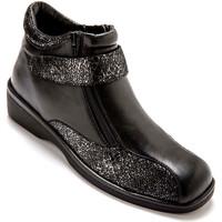 Chaussures Femme Boots Pediconfort Boots extra larges en cuir noir
