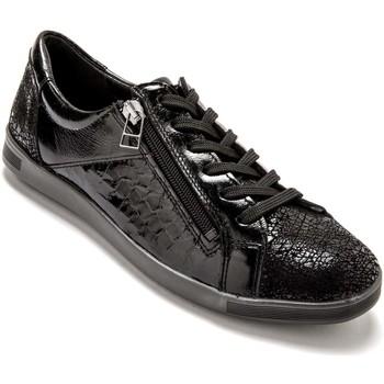 Chaussures Femme Baskets basses Pediconfort Baskets zippées cuir semelle amovible noirverni
