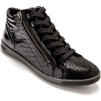 Chaussures Femme Baskets montantes Pediconfort Baskets montantes à semelle amovible noirverni