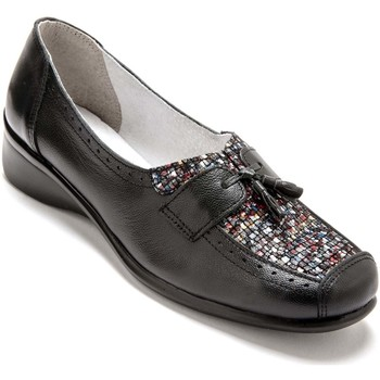 Chaussures Femme Mocassins Pediconfort Sans-gêne bi-matière avec pompons noirimpmulticolore