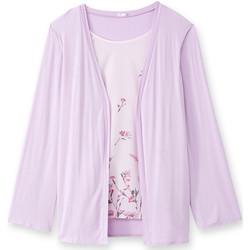 Vêtements Femme Gilets / Cardigans Balsamik Tunique 2 en 1 effet trompe-l'oeil rose